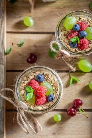 Healthy granola made of yoghurt and fresh berries