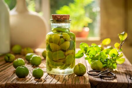 Homemade quince tincture made of fresh fruits and alcohol