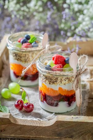 Tasty oat flakes made of yoghurt and fresh berries