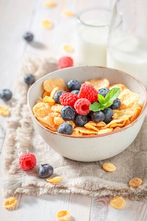 Fresh cornflakes with berries and milk as healthy meal