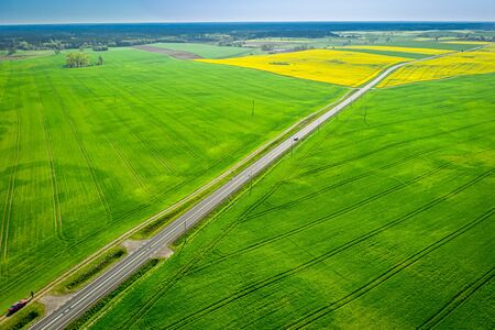 Moving cars on a road between green fields, aerial view 写真素材