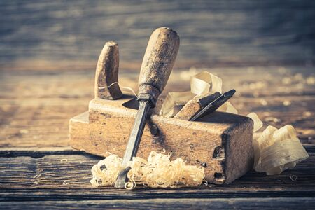 Chisel and planer in a carpentry rustic workshop