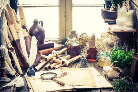 Rustic witch workshop with scrolls and plants Zdjęcie Seryjne