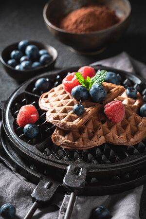 Closeup of waffles made of cocoa with fresh berries
