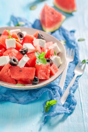 Fresh and tasty watermelon salad with feta cheese and olives