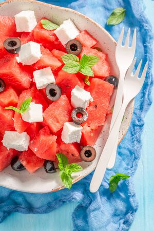 Closeup of watermelon salad with black olives and feta cheese Stok Fotoğraf