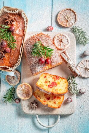 Sweet Fruitcake for Christmas with orange and cranberry