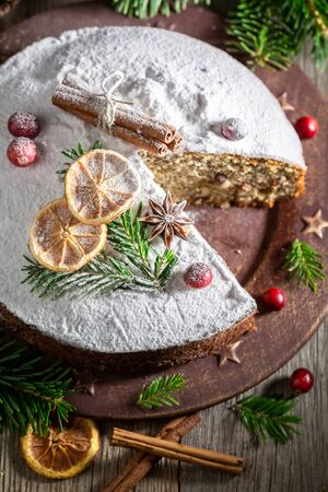 Tasty poppy seed cake for Christmas with orange and spruce