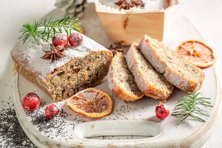 Delicious poppy seed cake for Christmas decorated with spruce