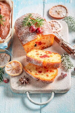 Tasty Fruitcake for Christmas with orange and cranberry