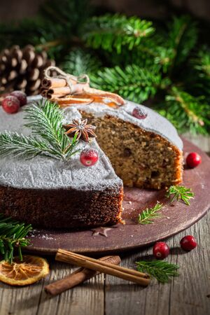 Traditionally poppy seed cake for Christmas made with cocoa