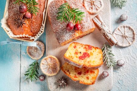 Traditionally Fruitcake for Christmas with orange and cranberry