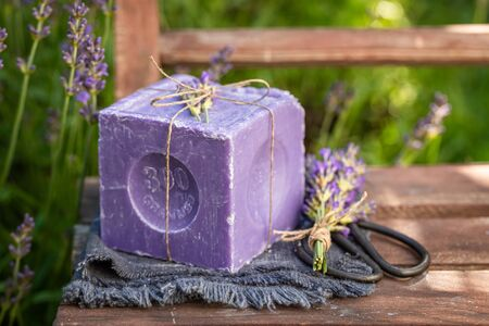 Natural and moisture lavender soap wrapped in a string