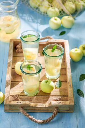 Sweet and tasty apple juice with apples and mint Reklamní fotografie - 130115936