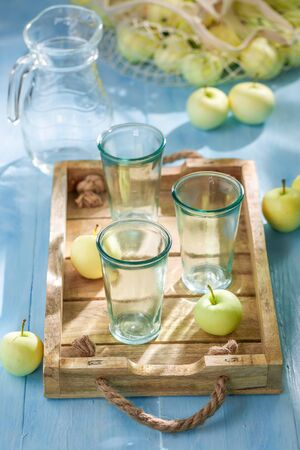Homemade and fresh apple juice in hot summer Reklamní fotografie
