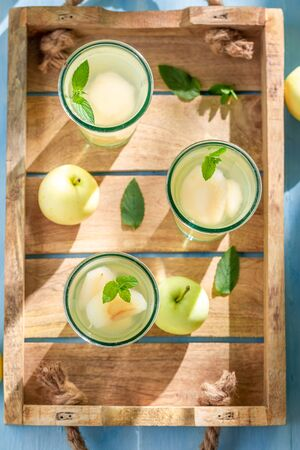 Top view of sweet apple juice made of fresh fruits Reklamní fotografie - 130116039