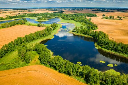 Beautiful blue lake and green forest in summer, aerial view Reklamní fotografie