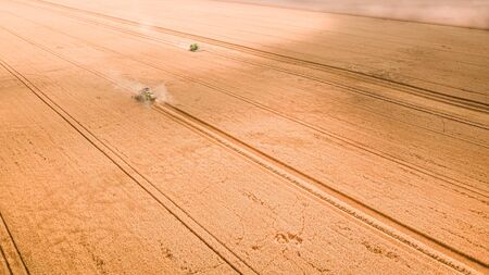 Small harvesters working on big field in Poland, aerial view Stock Photo