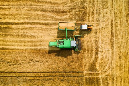 Harvester dropping collected grain onto a tractor trailer, aerial view Stock Photo