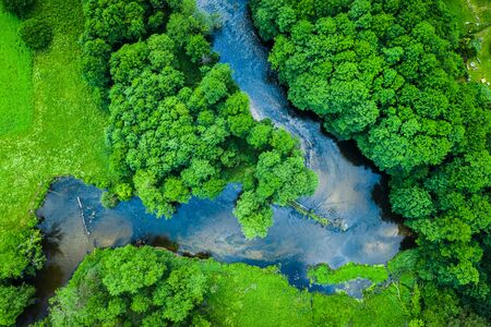 Green forest and river, aerial view of Tuchola national park Reklamní fotografie