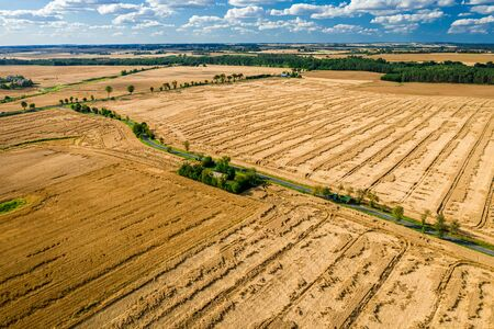 Aerial view of terrible field damaged by storm in summer Reklamní fotografie
