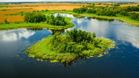 Amazing green swamps and blue lake in summer, aerial view Reklamní fotografie
