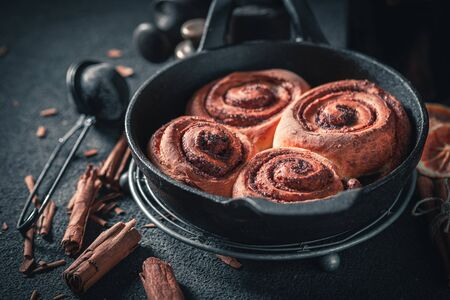 Delicious cinnamon rolls made of butter and sugar