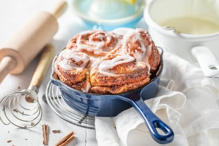 Sweet cinnamon rolls as swedish christmas dessert.