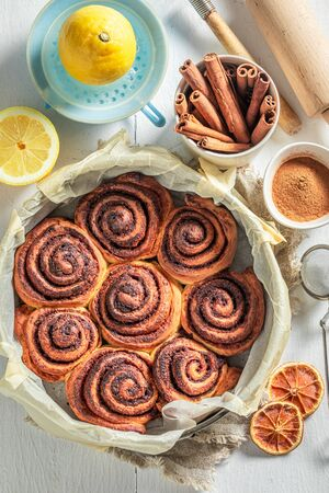 Enjoy your cinnamon rolls with spices, cocoa and sugar