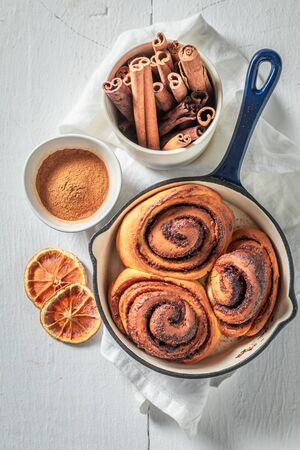 Freshly baked cinnamon rolls as swedish classic dessert