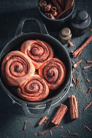 Tasty cinnamon rolls as swedish classic dessert
