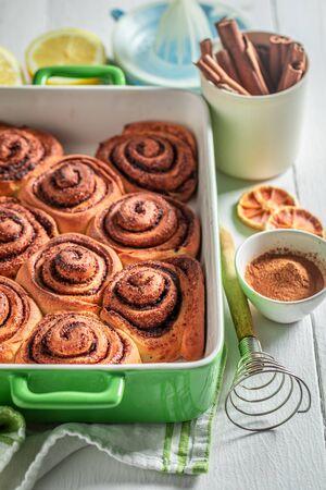 Sweet cinnamon buns as swedish classic dessert