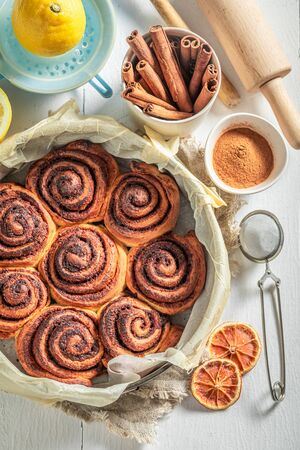 Sweet cinnamon buns as swedish christmas dessert.
