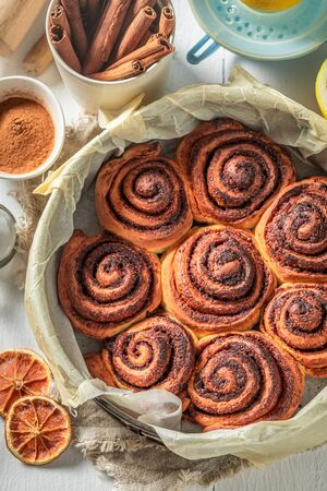Freshly baked cinnamon buns as swedish classic dessert