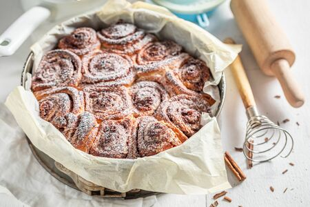 Sweet cinnamon buns with spices, cocoa and sugar