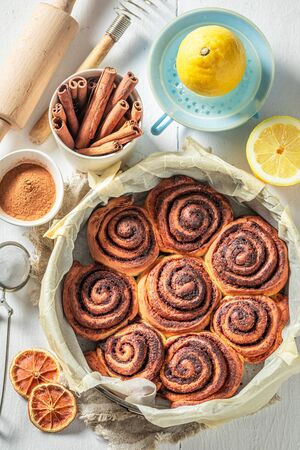 Tasty cinnamon rolls as swedish christmas dessert.