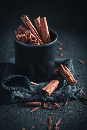 Heap of cinnamon sticks made of butter and sugar