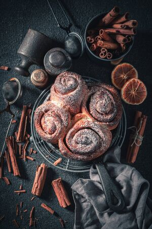 Traditionally cinnamon rolls as swedish classic dessert