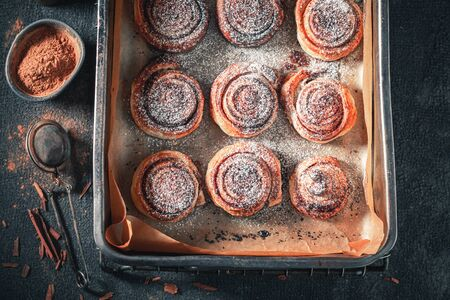 Traditionally cinnamon rolls made of puff pastry for Christmas
