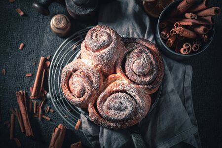 Hot cinnamon rolls as swedish classic dessert