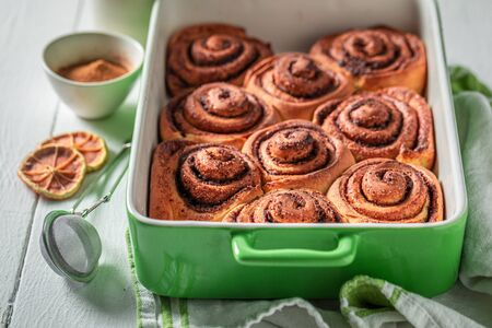 Tasty cinnamon buns made of butter and sugar