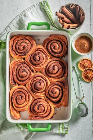 Hot cinnamon buns as swedish classic dessert