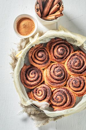 Sweet cinnamon buns as Christmas a snack Stock fotó