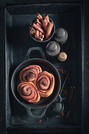 Delicious cinnamon buns as Christmas a snack
