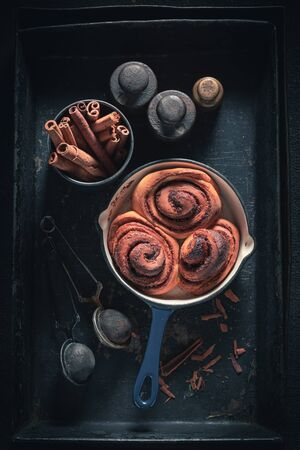 Delicious cinnamon buns made of butter and sugar Stock fotó