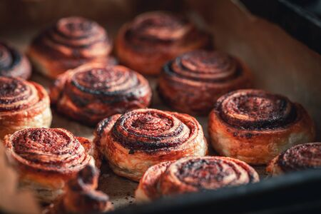 Homemade cinnamon rolls made of spices and puff pastry