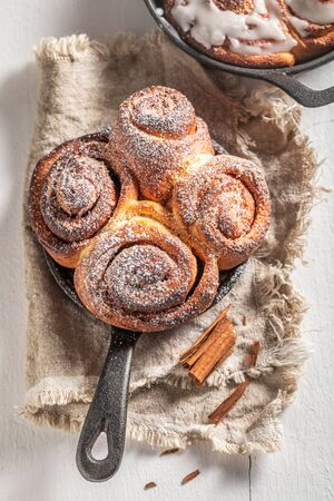 Traditionally cinnamon buns with spices, cocoa and sugar