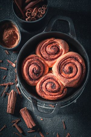 Hot cinnamon rolls as swedish christmas dessert.