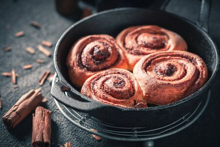 Delicious cinnamon rolls as swedish christmas dessert.