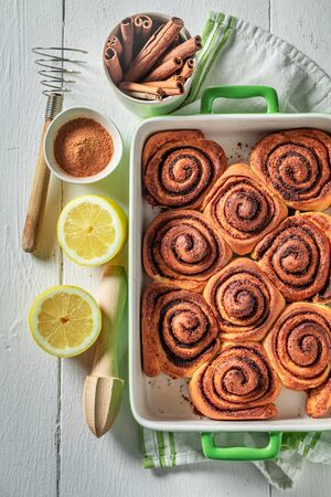 Hot cinnamon rolls made of butter and sugar